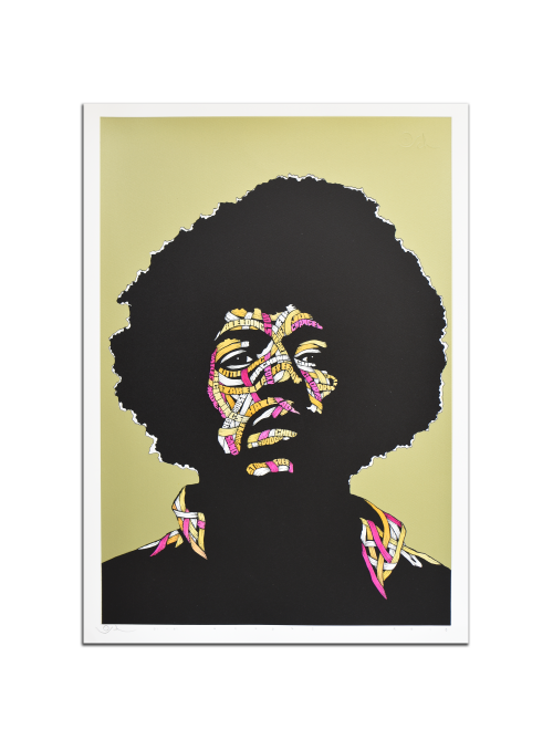 Jimi Hendrix Gold Background, Yellow, Purple