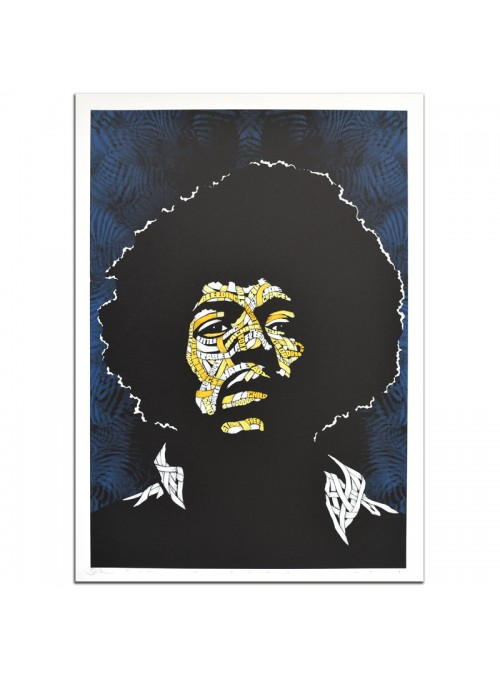 Jimi Hendrix Blue Background, Yellow, Orange