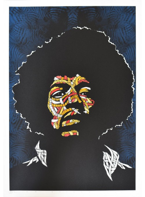 Jimi Hendrix Yellow Orange Red Pink