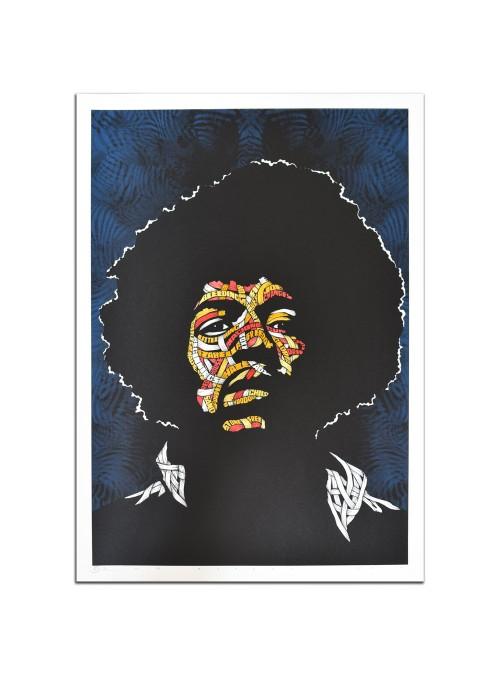 Jimi Hendrix Blue Background, Yellow, Orange, Red and Pink