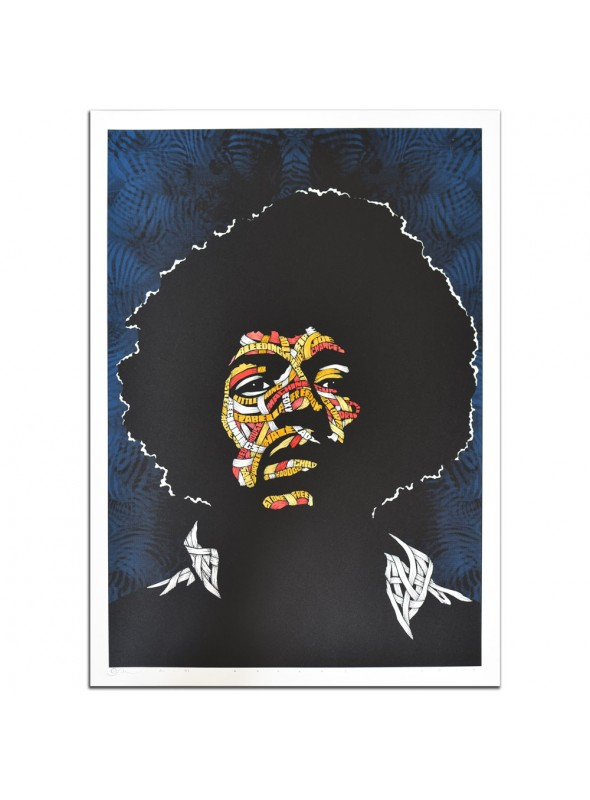 Jimi Hendrix Yellow Orange Red Pink